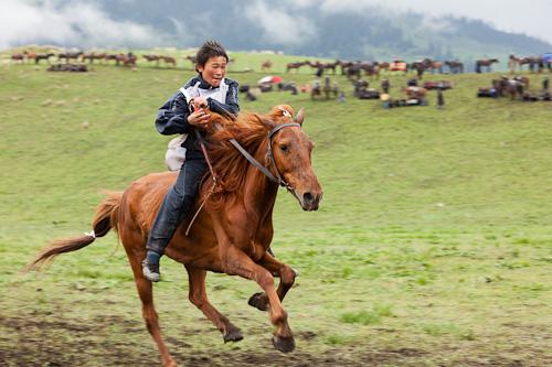 Traditional horsemanship games near Tekesi, China